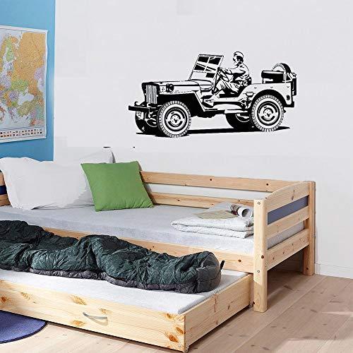 Etiqueta engomada de la pared del vehículo del ejército de dibujos animados | Adecuado para la decoración de la etiqueta de la pared del dormitorio del bebé
