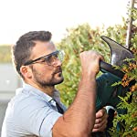 NoCry Over-Glasses Safety Glasses - with Clear Anti-Scratch Wraparound Lenses, Adjustable Arms, Side Shields, UV400 Protection, ANSI Z87 & OSHA Certified (Black & Red) Garden Trimming