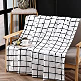 Bertte Plush Fleece Fuzzy Lightweight Super Soft Microfiber Flannel Couch, Bed, Sofa Ultra Luxurious Warm and Cozy for All Seasons Throw Blanket, 50'x60', Black and White