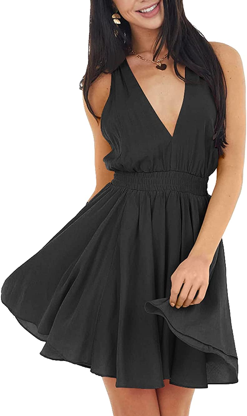 TOB Women's Summer Casual Deep V Neck Sleeveless High Waist Pleated Tank Mini Dress