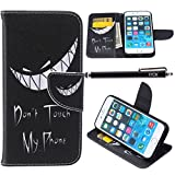 iPhone 6S Case, iPhone 6 Case Wallet, iYCK Premium PU Leather Flip Folio Carrying Magnetic Closure Protective Shell Wallet Case Cover for iPhone 6 / 6S (4.7) with Kickstand Stand - Grim Smile