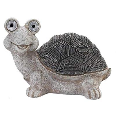 Summerfield Terrace 10018865 Solar Turtle Statue, White