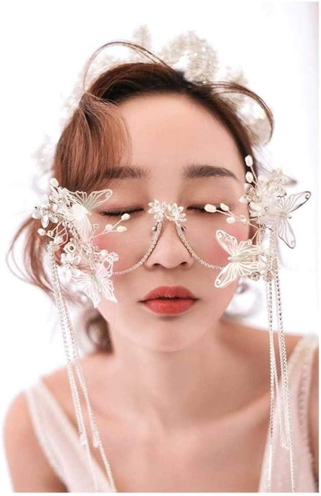 Fashion Lolita Fairy Eyeglass Frame Butterfly Glasses Headwear Pearl Tassels Bead Chain Model Show Studio Photo Shoot Decoration Chain