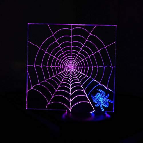 QJIAXING 3D lumières de Nuit Spider Web créatif Tactile coloré Charge LED Lampe stéréo Cadeaux pour Les Enfants,Color