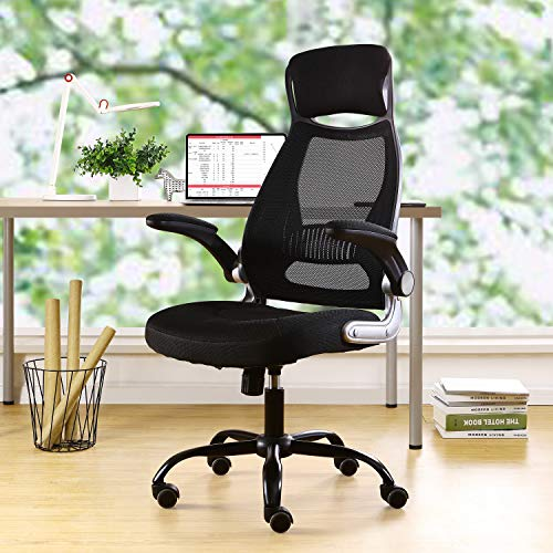 BERLMAN Ergonomic Mesh Office Chair Computer Chair with Flip-up Arms Adjustable Height Desk Chair