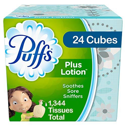 Puffs Plus Lotion Facial Tissues, 24 Cube Boxes, 56 Tissues per Box (1344 Tissues Total)