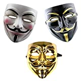 GrassVillage Anonymous Halloween V for Vendetta 3 pc Mask Set - Gold, White and Black - PARTY, WORLD BOOK WEEK / HALLOWEEN KIT