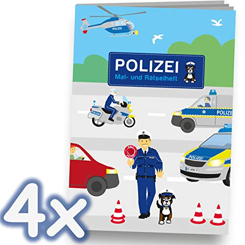 Neu: 4 Mal- und Rätselhefte * Polizei * mit 12 Seiten in DIN A6   perfekt als Mitgebsel oder Geschenk   Malbuch Malen Malblock Kinder