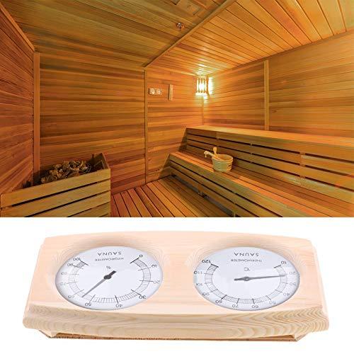 Felenny Hygrothermographe de Sauna 2-En-1 Double Cadran Thermomètre en Bois Hygromètre Adapté à La Salle de Sauna