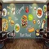4D Tapeten Wandbilder,Kreative Cartoon Burger Trinken Pizza