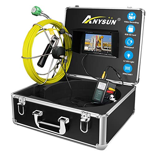 ANYSUN Pipe Pipeline Inspection Camera 30M/98ft Drain Sewer Industrial Endoscope Video Plumbing System with 7 Inch LCD Monitor 1000TVL DVR Recorder Snake Cam (Include 8GB SD Card)