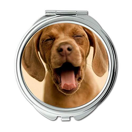 Yanteng Spiegel, Kleiner Spiegel, Happy Dog süßer Hund, Taschenspiegel, 1 X 2X Lupe
