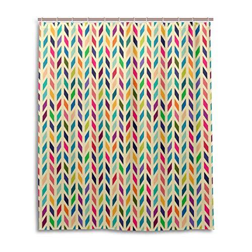 Ahomy Badezimmer-Duschvorhang, bunt, geometrisch, Zickzack-Memphis, langlebig, wasserdicht, dick, mit 12 Haken, 152,4 x 182,9 cm