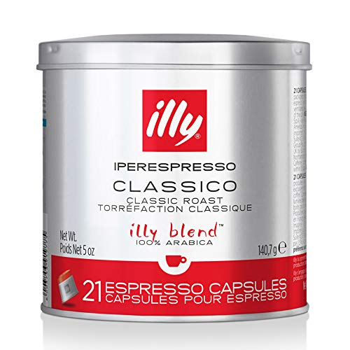 illy Coffee, iperEspresso Capsule, Classico Medium Roast Espresso Pods, Compatible with illy iperEspresso Machines, 21 Count (Pack of 2) (Packaging may vary)