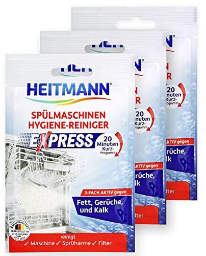 HEITMANN Express Spülmaschinen Reiniger 30g: Reiniger für Geschirr, 3fach aktiv gegen Fett, Kalk, Gerüche, wirkt schon im Kurzprogramm, spart Zeit, Energie und Kosten, 3x30g