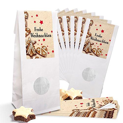 Lot de 10 petits sacs en papier blanc pour pâtisseries avec fenêtre 8 x 5 x 24,5 cm + 10 banderoles Rouge/beige