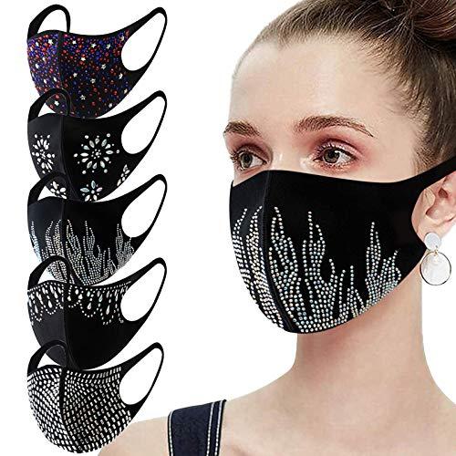 Women's Fashion Rhinestone Black Face_mask Washable ,Ice Silk Cotton 𝐌𝐀𝐒𝐊𝐒 for Coronàvịrụs Protectịon (H, 5PC)