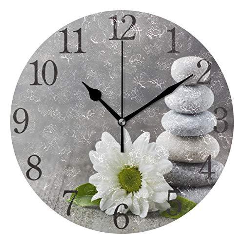 orologio da parete zen Mnsruu Orologio da Parete Rotondo in Pietra e Fiori Zen