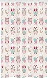ABAKUHAUS búhos Cortina para baño, Estrellas de los pájaros de la Luna en Colores Pastel, Tela con Estampa Digital Apta Lavadora Incluye Ganchos, 120 x 180 cm, Almendra Verde Rosa Tan