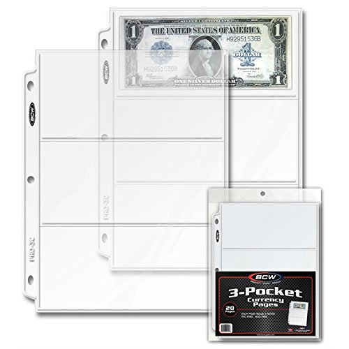 BCW PRO 3-POCKET CURRENCY PAGE (40 CT. PACK)