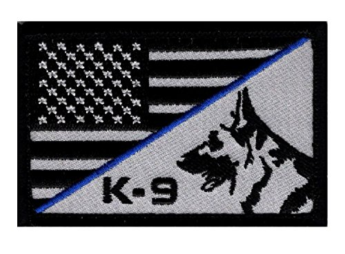 K-9 USA American Flag Thin Blue Line Police Swat Hook Patch (PK1)