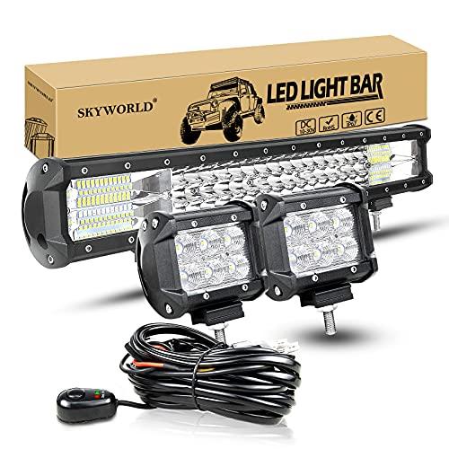 SKYWORLD 20 pollici 288W Barra LED Auto tripla fila Spot Flood Luci Fuoristrada a LED 4x4 4WD 12V...