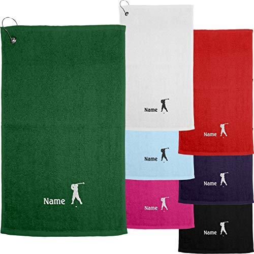 Nashville print factory Golf-Handtuch Bestickt mit Motiv Golfer und deinem Namen Golftuch 30 x 50 cm (Fuchsia)