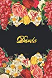 Darda Notebook: Lined Notebook / Journal with Personalized Name, & Monogram initial D on the Back Cover, Floral cover, Gift for Girls & Women