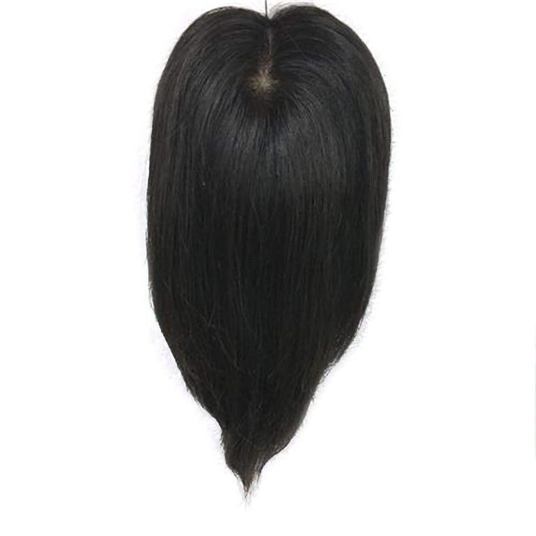 涙インテリア思春期Yrattary 女性の手織りニットウィッグロングストレートヘアクリップリアルヘアエクステンションカバー白髪ロールプレイングウィッグキャップ (色 : Natural black, サイズ : 25cm)