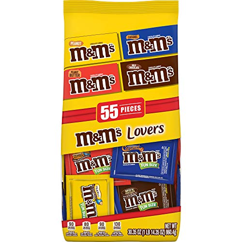 M&M'S Lovers Halloween Chocolate Candy Fun Size Variety Assorted Mix Bag, 30.35-Ounce 55 Pieces