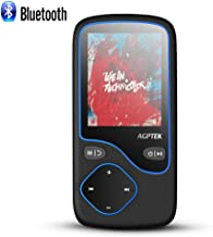 AGPTEK MP3 Player with Bluetooth 4.0, 8GB Lossless Music Player Support FM Radio Video Playing Voice Recording, Expandable Up to 128GB, Black Antenna Included