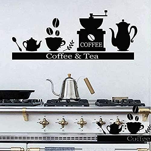 TJVXN Etiqueta de la Pared 3D Contador Etiqueta de la Pared máquina de café Taza de té Estante Estante Vinilo Etiqueta de la Pared Bar café Cocina...
