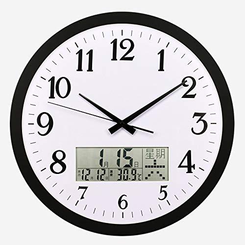 ZBBSHOP Wohnzimmer große wanduhr temperatur Woche mondkalender Uhr stumm Hotel elektronische Uhr Geschenk Uhr 30 cm