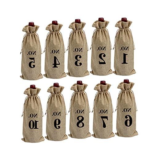 Yajom 10 bolsas de arpillera para vino con cordón, numeradas para botellas de cristal