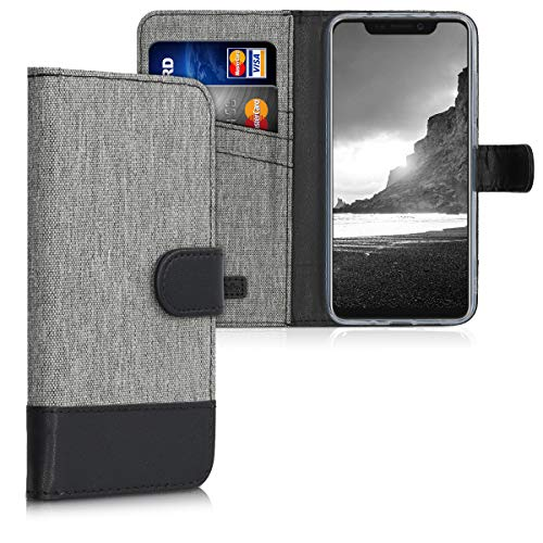 kwmobile Hülle kompatibel mit ZTE Axon 9 Pro - Kunstleder Wallet Hülle mit Kartenfächern Stand in Grau Schwarz