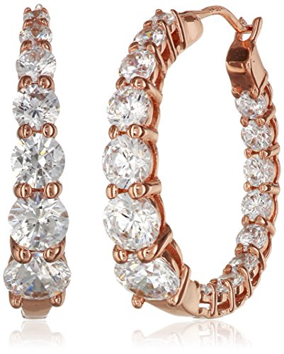 Rose Gold Plated Sterling Silver Hoop Earrings set with Graduated Swarovski Zirconia (3.76 cttw), 1