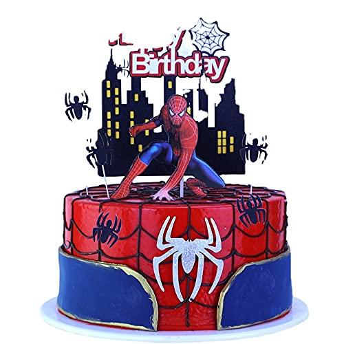 Miss-shop Topper de Gâteau,Spiderman Cupcake Toppers 9 Pièces Décorations de Gâteau danniversaire pour Les Enfants Anniversaire Bébé Douche Fête de danniversaire Mariage