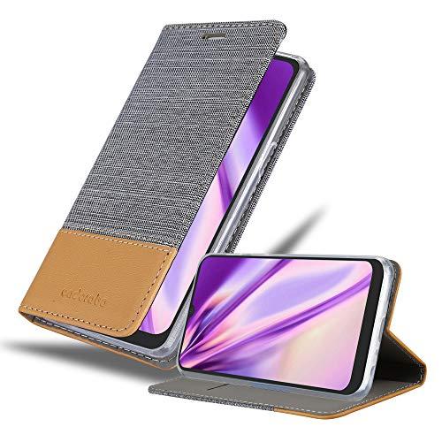 Cadorabo Hülle für LG K40s in HELL GRAU BRAUN - Handyhülle mit Magnetverschluss, Standfunktion & Kartenfach - Hülle Cover Schutzhülle Etui Tasche Book Klapp Style