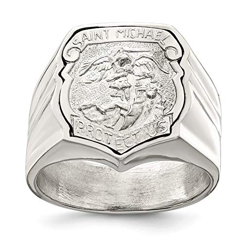 925 Sterling Silver Mens Saint Michael Band Ring Size 9.00 Religious Man Fine Jewelry For Dad Mens Gifts For Him