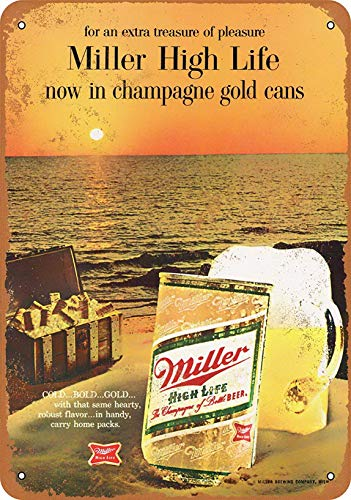 Metal Tin Sign Wall Decor 12'X16'Miller High Life in Cans,for Living Room Bedroom Kitchen Home Office Decoration Quote Metal Signs Vintage Man Cave Garage Sign