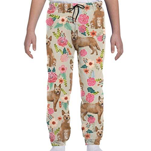 Yesbnow Teenager Jungen Mädchen Jogginghose Jogging Bottom Sport oder Loungewear Hose, Australian Cattle Dog Rh Florals Creme Sand gedruckt