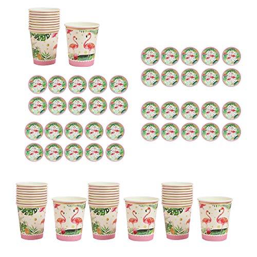 SDENSHI Juego de 40 platos de papel de los Estados Unidos y tirar flamencos hawaianos tropicales tazas Baby Shower