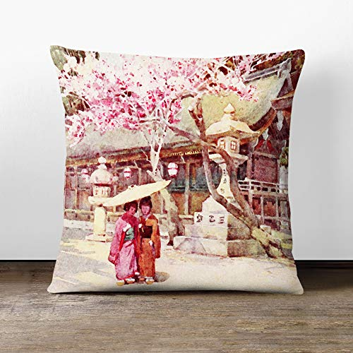 Big Box Art Cushion and Cover - Ella Du Cane Japanese Oriental The time of the plum blossoms - Single Square Throw Pillow - Soft Faux Suede Material - Stone Rear - 40x40 cm