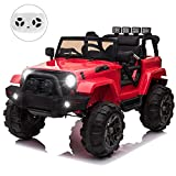 OUTTOY Kids Ride on Car Trucks, Electric Cars for Kids w/Parent Remote Control, 12 V Battery Kids Car, 3 Speeds, LED Lights, MP3 Player, Spring Suspension (Red)