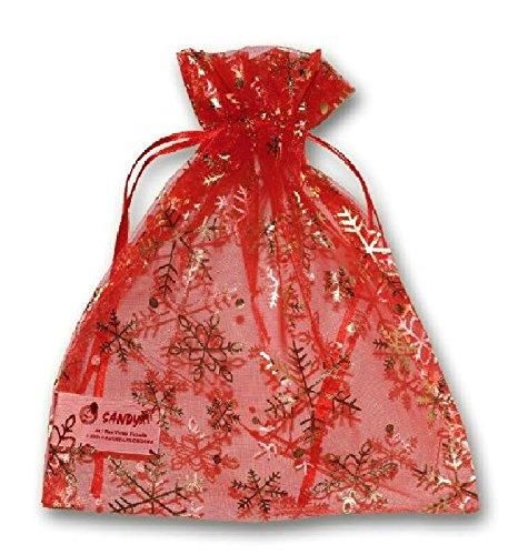 Sandy - Sac cadeau rouge floconné 21 x 17 cm