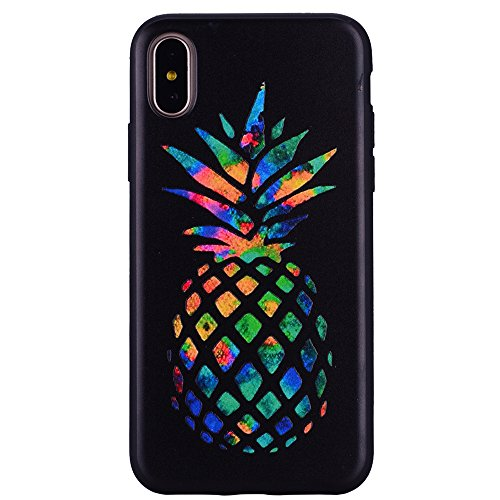 COZY HUT iPhone X Custodia in TPU Nero Opaco, Morbido TPU Custodia Cover Slim Anti Scivolo Custodia Posteriore Cover Antiurto per iPhone X - Ananas colorato