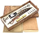 SCHOWE Antique Two-Color Feather Pen Quill Pen Dip Pen With Envelope Knife Envelope Writing Paper Calligraphy Pen Ink Set(pheasant)