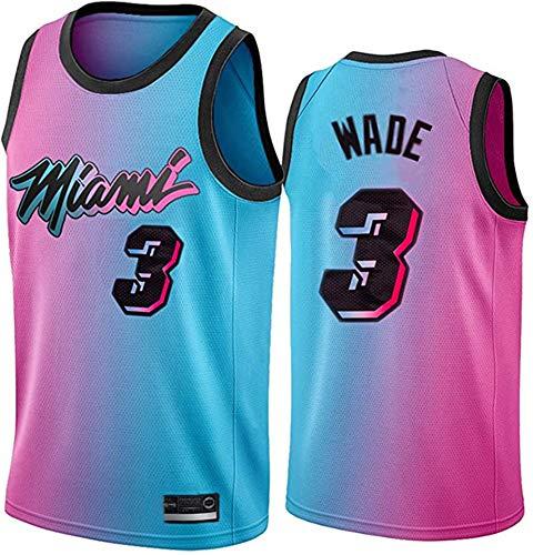 Heat 3# Wade - Camiseta de baloncesto con degradado de la última versión de la ciudad del equipo de calor, camiseta deportiva sin mangas de secado rápido