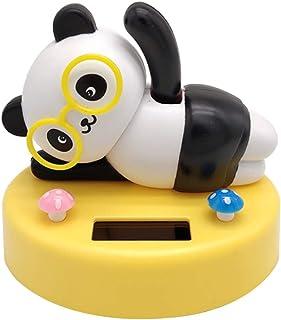 Fenteer Solar Powered Weaving Hand Panda Dancing Swinging Animal Animated Bobble Dancer Toy Car Decor - Yellow