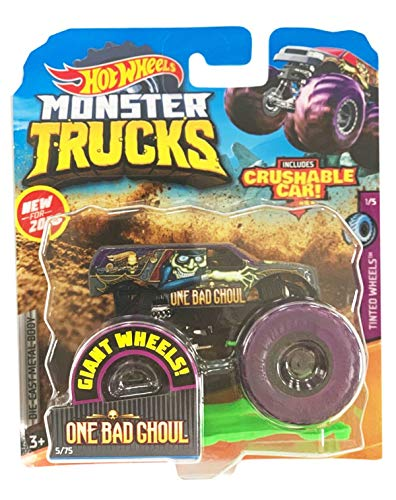Hot Wheels Monster Trucks 1:64 Scale, Crushable Car - One Bad Ghoul